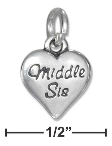 Sterling Silver Middle Sis Small Heart Charm | Jewelry Store