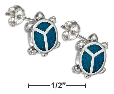 Sterling Silver Faux Turquoise Peace Sign Turtle Earring Hypo-Allergenic Steel Post | Jewelry Store