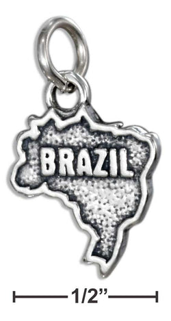 "Sterling Silver ""Brazil"" Map Charm 