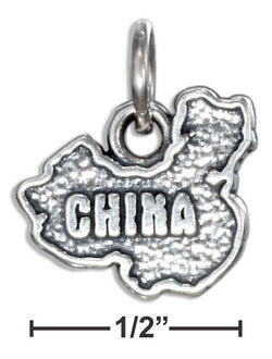 "Sterling Silver ""China"" Map Charm 