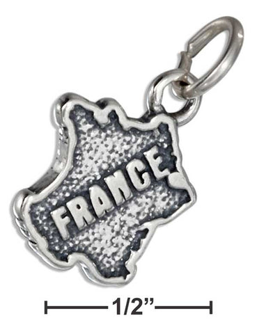 "Sterling Silver ""France"" Map Charm 