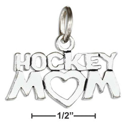"Sterling Silver ""Hockey Mom"" Charm 
