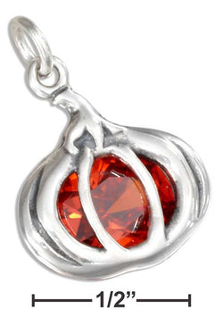 Sterling Silver Orange Cubic Zirconia Pumpkin Pendant | Jewelry Store