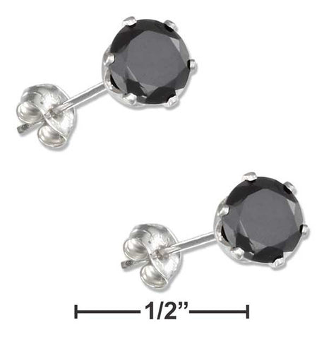 Stainless Steel 6mm Round Black Cubic Zirconia Post Earrings | Jewelry Store