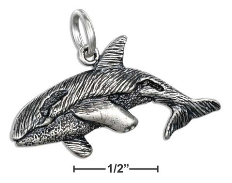 Sterling Silver Antiqued Orca Whale Pendant | Jewelry Store