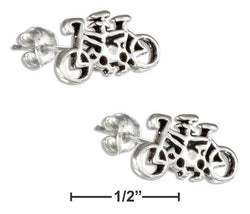 Sterling Silver Tandem Bicycle Post Earrings On Hypo-Allergenic Steel Posts/Nuts | Jewelry Store