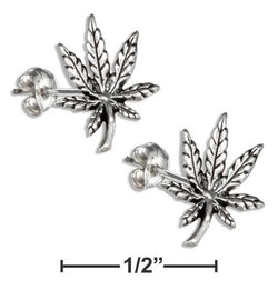 Sterling Silver Marijuana Pot Leaf Earrings On Hypo-Allergenic Steel Posts And Nuts | Jewelry Store