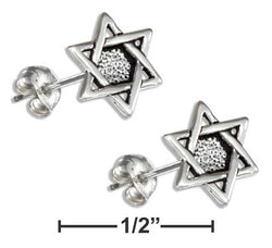 Sterling Silver Mini Star Of David Earrings On Hypo-Allergenic Steel Posts And Nuts | Jewelry Store