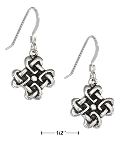Sterling Silver Square Celtic Knot Heart Earrings On French Wires | Jewelry Store