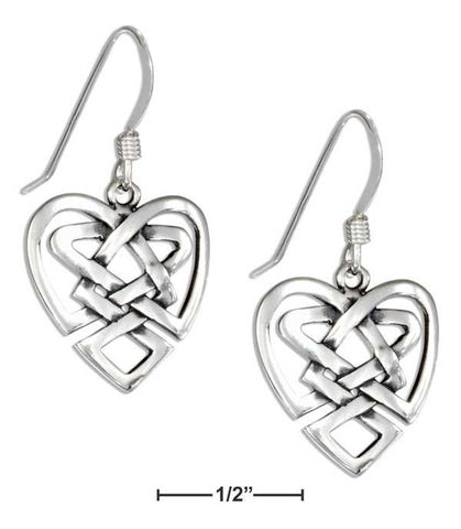 Sterling Silver Open Heart Celtic Knot Earrings On French Wires | Jewelry Store