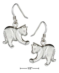 Sterling Silver Playful Cat Earrings On French Wires | Jewelry Store