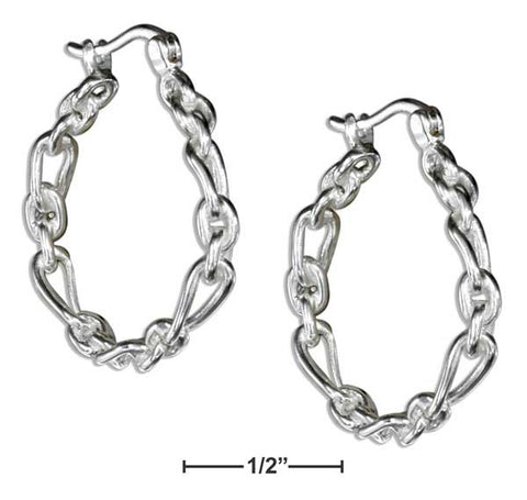 Sterling Silver Oval And Circle Link Hoop Earrings | Jewelry Store