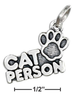"Sterling Silver ""Cat Person"" Pendant With Paw Print 