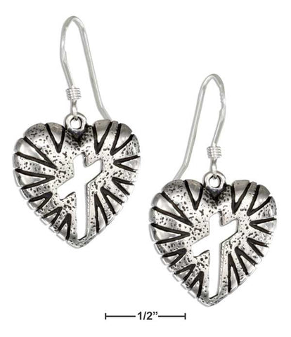 Sterling Silver Heart Earrings With Cross Cutout On French Wires | Jewelry Store