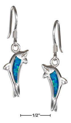 Sterling Silver Synthetic Blue Opal Jumping Dolphin Earrings | Jewelry Store