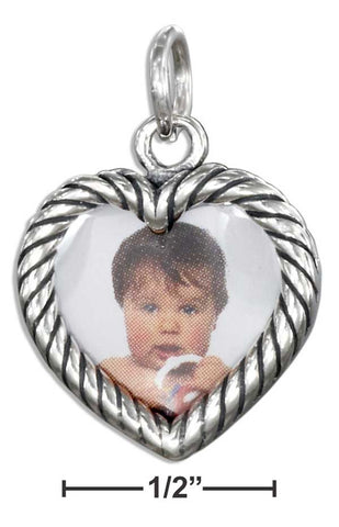 Sterling Silver Double Sided Heart Picture Frame Charm | Jewelry Store