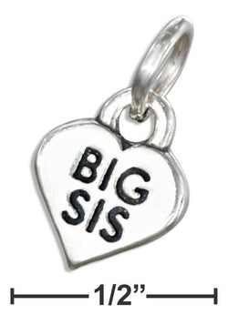 "Sterling Silver ""Big Sis"" Heart Charm 