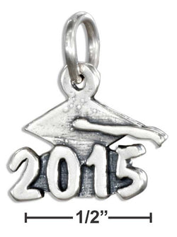 "Sterling Silver ""2015"" Graduation Cap Charm 