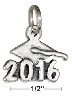 "Sterling Silver ""2016"" Graduation Cap Charm 