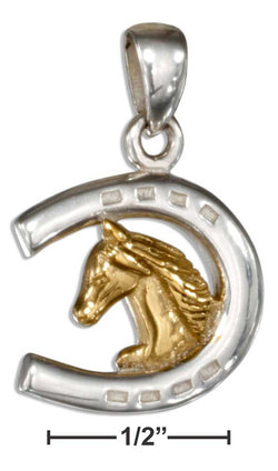 Sterling Silver Two-Tone Horseshoe With Horse Head Pendant | Jewelry Store