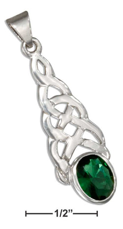 Sterling Silver Celtic Knot Pendant With Green Glass Oval | Jewelry Store