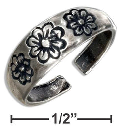 Sterling Silver Triple Flowers Toe Ring | Jewelry Store