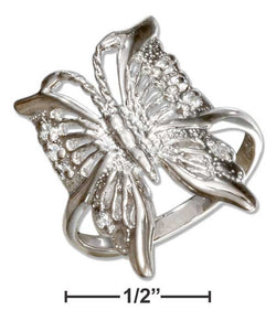 Sterling Silver Filigree Butterfly Cubic Zirconia Ring | Jewelry Store