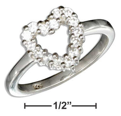 Sterling Silver Pave Cubic Zirconia Open Heart Ring | Jewelry Store
