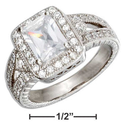 Sterling Silver Vintage Style Rectangular Cubic Zirconia Engagement Ring | Jewelry Store