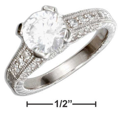 Sterling Silver Vintage Design Round Cubic Zirconia Engagement Ring | Jewelry Store