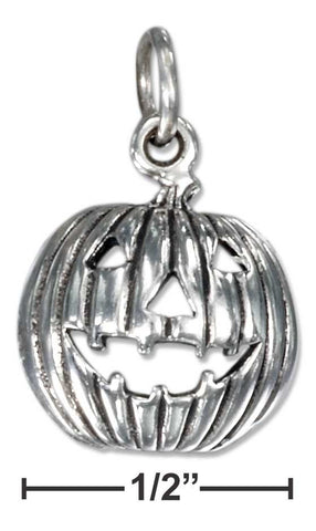 Sterling Silver Antiqued Jack-O-Lantern Charm | Jewelry Store