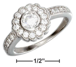 Sterling Silver Vintage Flower Design Round Cubic Zirconia Engagement Ring | Jewelry Store