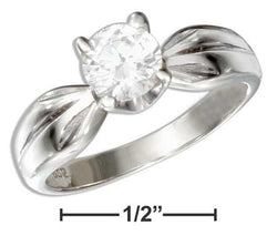 Sterling Silver Round Cubic Zirconia Engagement Ring With Pinched Shank | Jewelry Store
