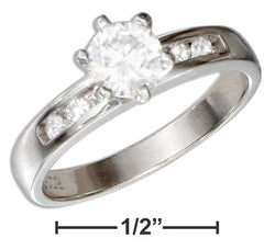 Sterling Silver Round Cubic Zirconia Engagement Ring With Cubic Zirconia Band | Jewelry Store