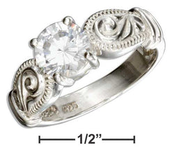 Sterling Silver Round Cubic Zirconia Engagement Ring With Scrolls | Jewelry Store