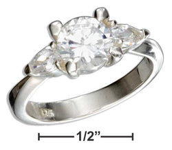 Sterling Silver Round Cubic Zirconia Engagement Ring With Pear Cubic Zirconias | Jewelry Store