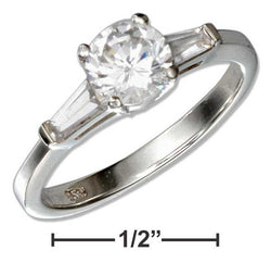 Sterling Silver Round Cubic Zirconia Engagement Ring With Baguette Cubic Zirconias | Jewelry Store