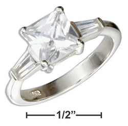Sterling Silver Princess Cut Cubic Zirconia Engagement Ring With Baguettes | Jewelry Store