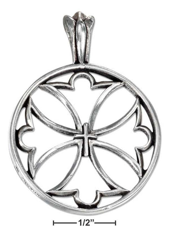 Sterling Silver Round Open Maltese Cross Pendant With Center Cross | Jewelry Store