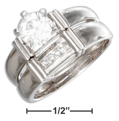Sterling Silver Cubic Zirconia Wedding Ring Set With Channel Set Accents | Jewelry Store