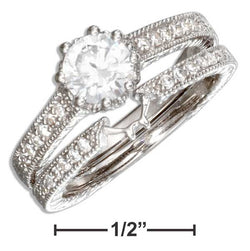 Sterling Silver Vintage Design Round Cubic Zirconia Wedding Ring Set | Jewelry Store