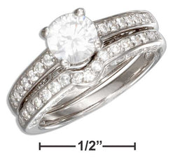 Sterling Silver Pave Vintage Design Round Cubic Zirconia Wedding Ring Set | Jewelry Store