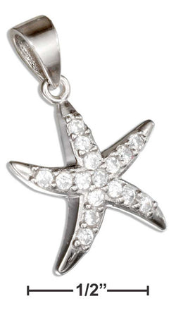 Sterling Silver Pave Cubic Zirconia Starfish Pendant | Jewelry Store