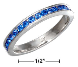 Sterling Silver September Birthstone Deep Blue Crystals Eternity Band Ring | Jewelry Store