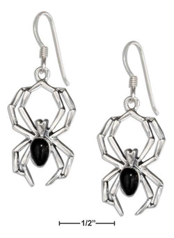 Sterling Silver Spider Earrings With Simulated Black Onyx Body | Jewelry Store