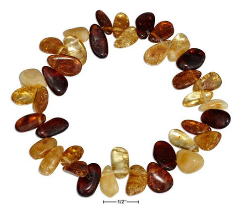 "8"" Multicolor Amber Pebble Stretch Bracelet 