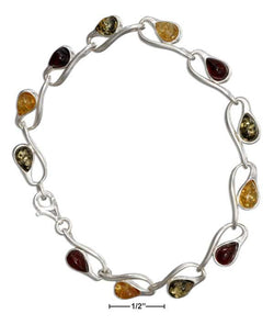 "Sterling Silver 7"" Loop And Multicolor Amber Link Bracelet 