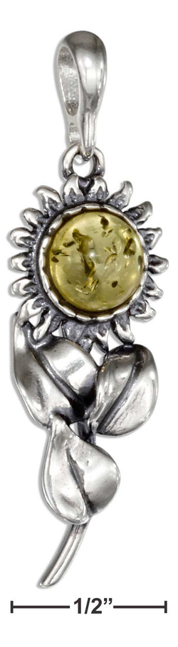 Sterling Silver Sunny Amber Sunflower Pendant | Jewelry Store