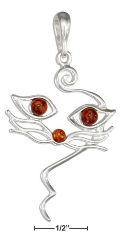 Sterling Silver Honey Amber Cat Face Pendant | Jewelry Store