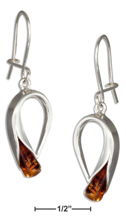 Sterling Silver Loop With Honey Amber End Earrings | Jewelry Store